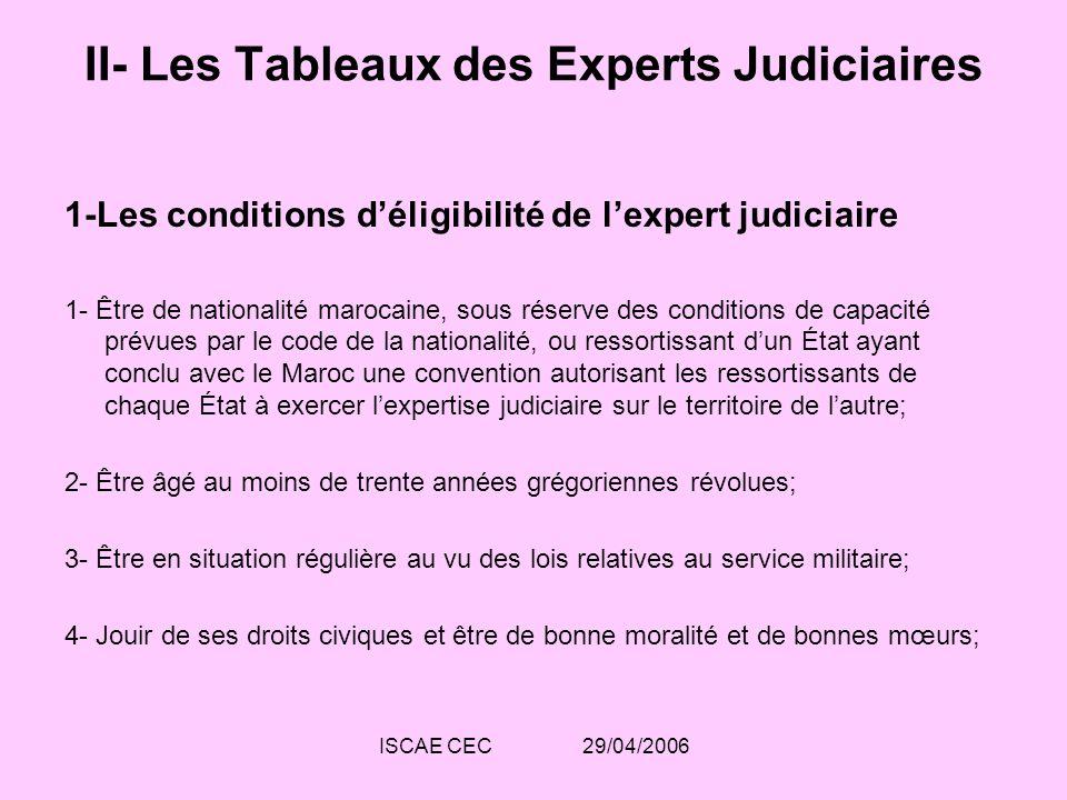 ISCAE CEC 29/04/2006 II- Les Tableaux des Experts Judiciaires 1-Les conditions déligibilité de lexpert judiciaire 1- Être de nationalité marocaine, so