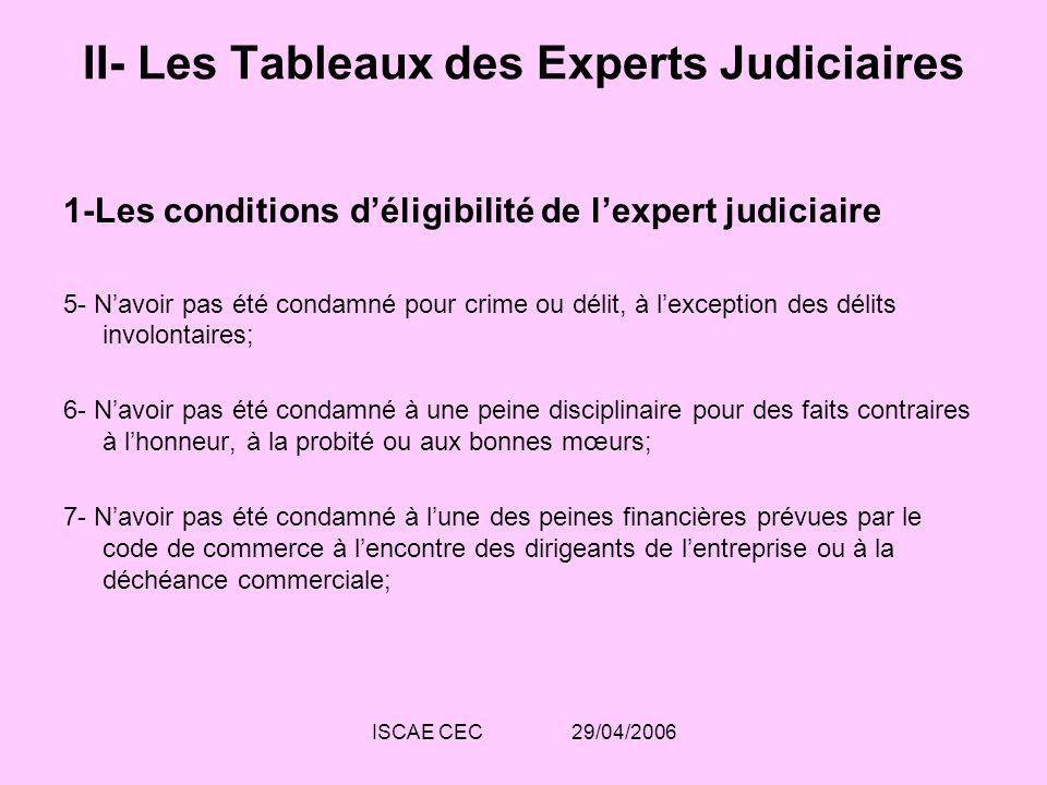 ISCAE CEC 29/04/2006 II- Les Tableaux des Experts Judiciaires 1-Les conditions déligibilité de lexpert judiciaire 5- Navoir pas été condamné pour crim