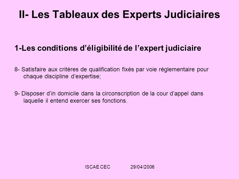 ISCAE CEC 29/04/2006 II- Les Tableaux des Experts Judiciaires 1-Les conditions déligibilité de lexpert judiciaire 8- Satisfaire aux critères de qualif