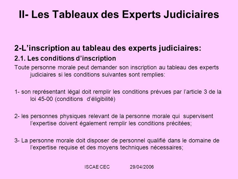 ISCAE CEC 29/04/2006 II- Les Tableaux des Experts Judiciaires 2-Linscription au tableau des experts judiciaires: 2.1. Les conditions dinscription Tout