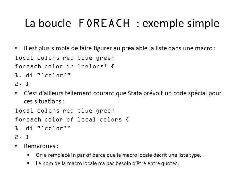 La boucle FOREACH : exemple simple Il est plus simple de faire figurer au préalable la liste dans une macro : local colors red blue green foreach colo
