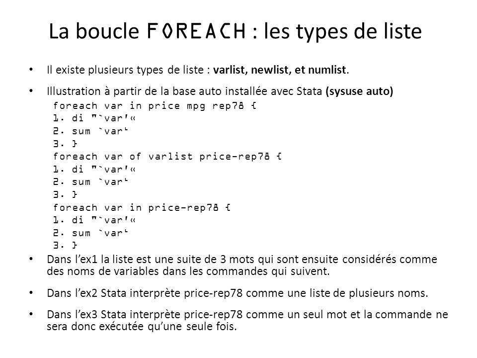 La boucle FOREACH : les types de liste Il existe plusieurs types de liste : varlist, newlist, et numlist. Illustration à partir de la base auto instal