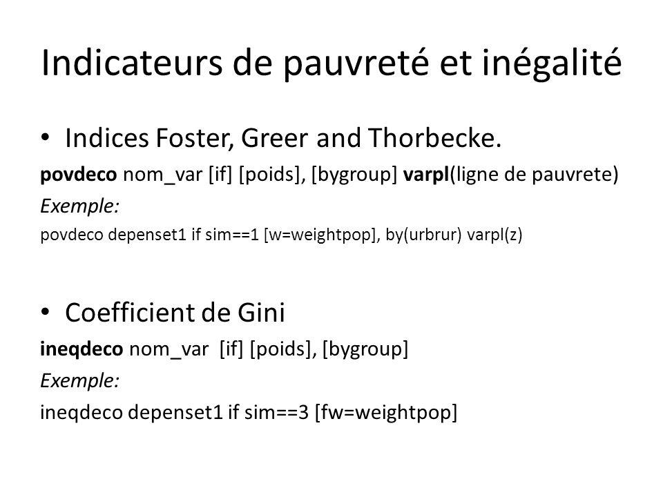 Indicateurs de pauvreté et inégalité Indices Foster, Greer and Thorbecke. povdeco nom_var [if] [poids], [bygroup] varpl(ligne de pauvrete) Exemple: po