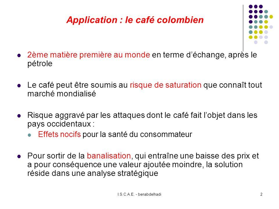 I.S.C.A.E. - benabdelhadi2 Application : le café colombien 2ème matière première au monde en terme déchange, après le pétrole Le café peut être soumis