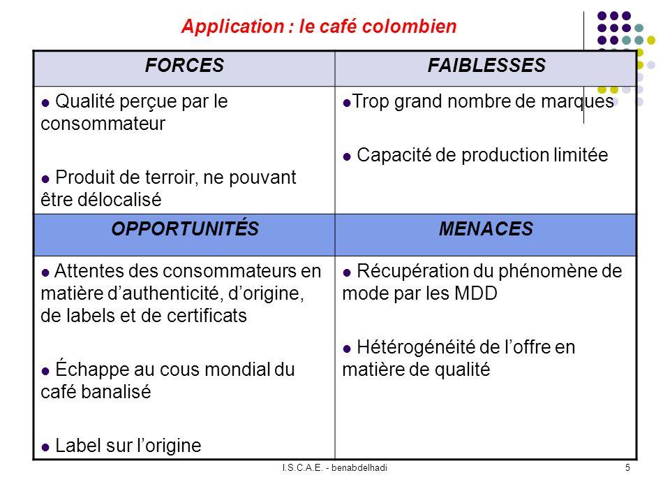 I.S.C.A.E. - benabdelhadi5 Application : le café colombien FORCESFAIBLESSES Qualité perçue par le consommateur Produit de terroir, ne pouvant être dél