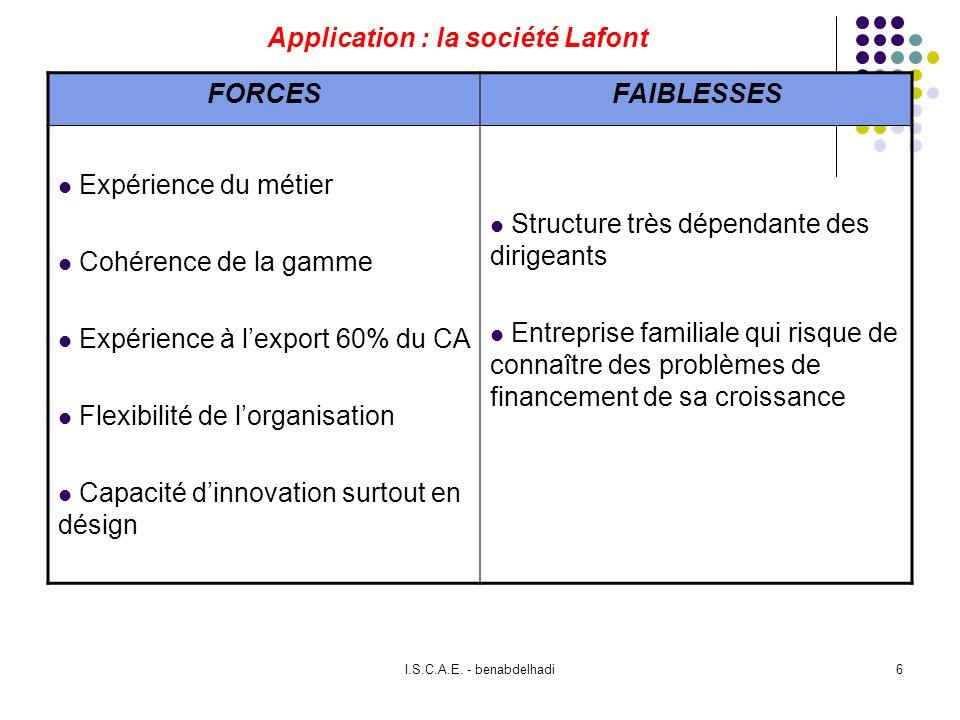 I.S.C.A.E. - benabdelhadi6 Application : la société Lafont FORCESFAIBLESSES Expérience du métier Cohérence de la gamme Expérience à lexport 60% du CA