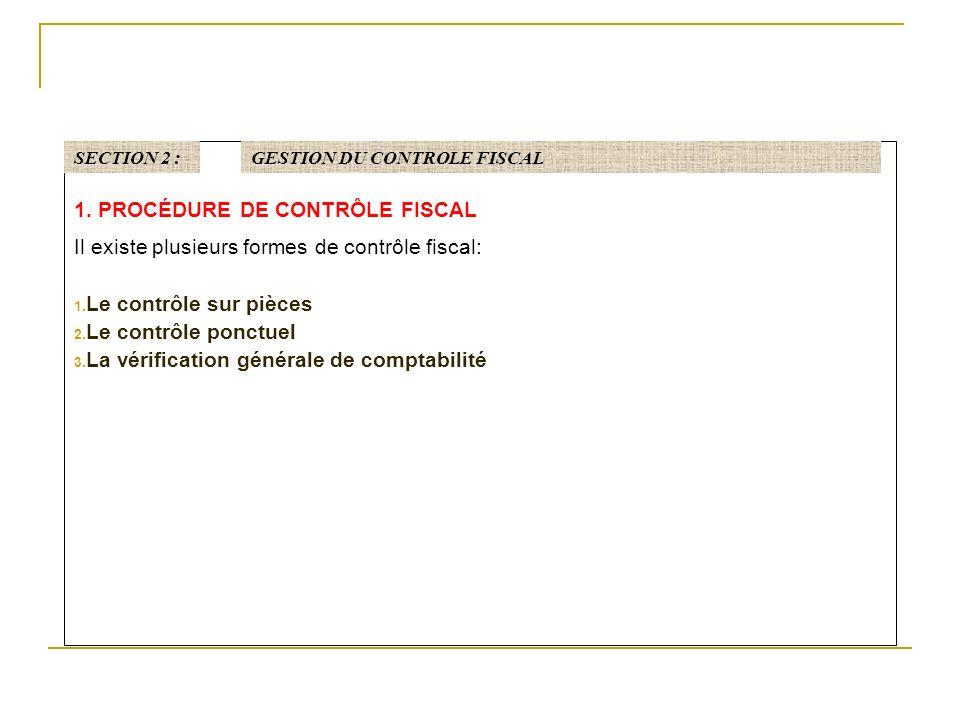 1.PROCÉDURE DE CONTRÔLE FISCAL Il existe plusieurs formes de contrôle fiscal: 1.