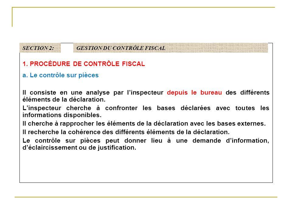 1.PROCÉDURE DE CONTRÔLE FISCAL a.
