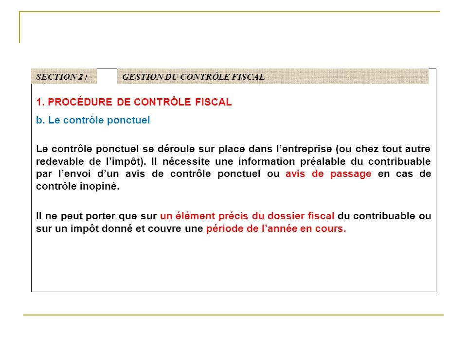 1.PROCÉDURE DE CONTRÔLE FISCAL b.