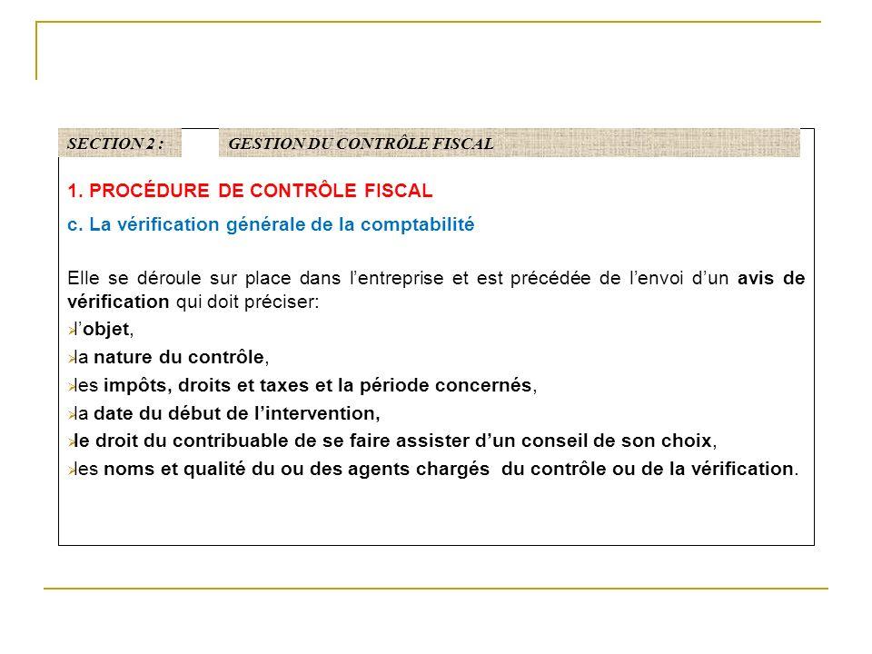 1.PROCÉDURE DE CONTRÔLE FISCAL c.