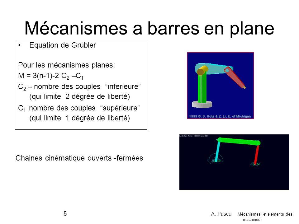 A. Pascu Mécanismes et éléments des machines 5 Mécanismes a barres en plane Equation de Grübler Pour les mécanismes planes: M = 3(n-1)-2 C 2 –C 1 C 2