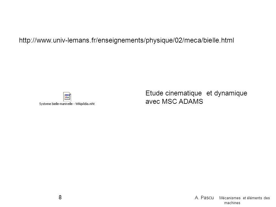 A. Pascu Mécanismes et éléments des machines 8 http://www.univ-lemans.fr/enseignements/physique/02/meca/bielle.html Etude cinematique et dynamique ave