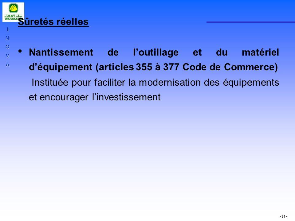 INOVA - 11 - Sûretés réelles Nantissement de loutillage et du matériel déquipement (articles 355 à 377 Code de Commerce) Instituée pour faciliter la m