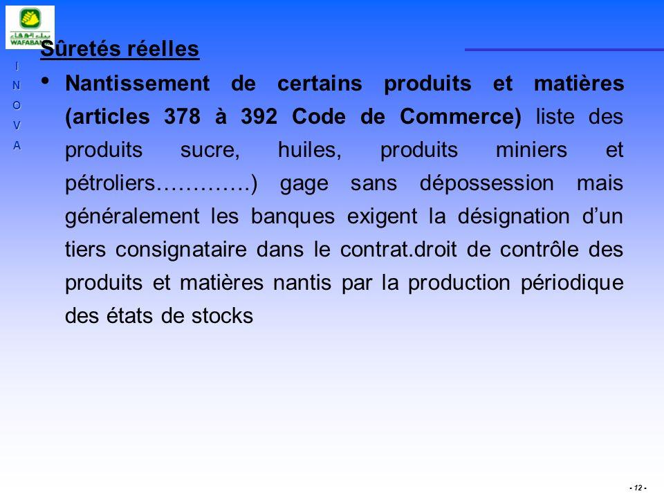 INOVA - 12 - Sûretés réelles Nantissement de certains produits et matières (articles 378 à 392 Code de Commerce) liste des produits sucre, huiles, pro