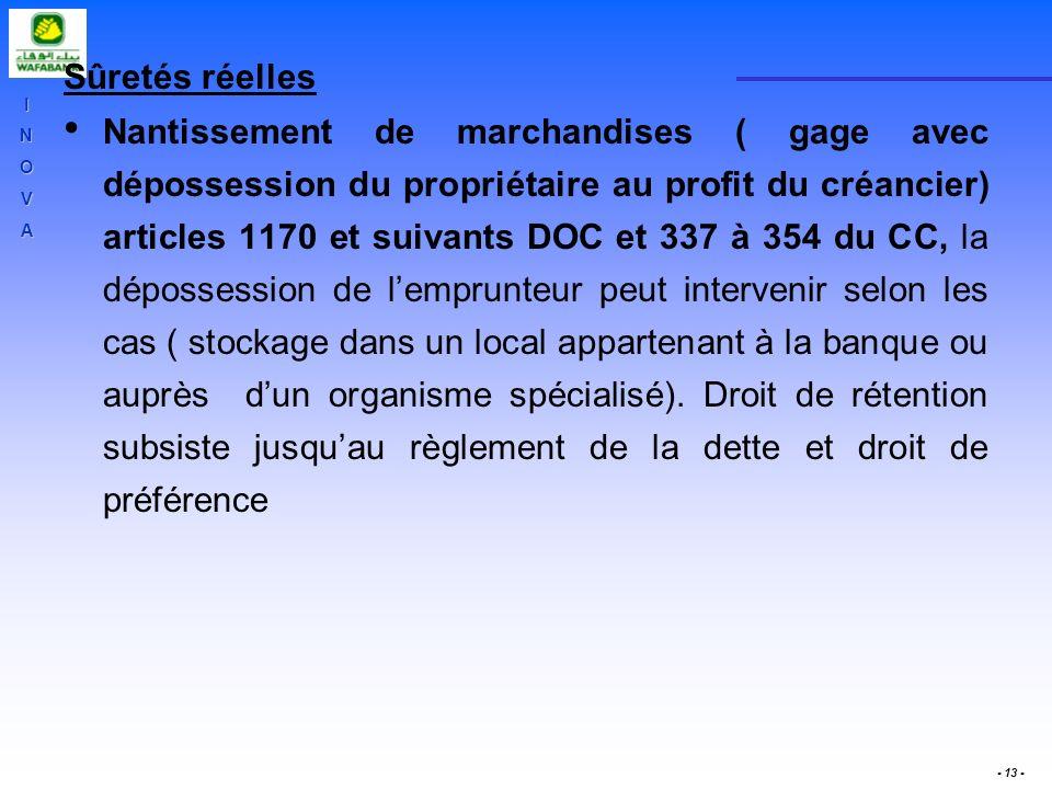 INOVA - 13 - Sûretés réelles Nantissement de marchandises ( gage avec dépossession du propriétaire au profit du créancier) articles 1170 et suivants D