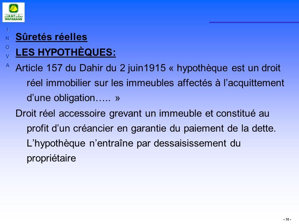INOVA - 16 - Sûretés réelles LES HYPOTHÈQUES: Article 157 du Dahir du 2 juin1915 « hypothèque est un droit réel immobilier sur les immeubles affectés