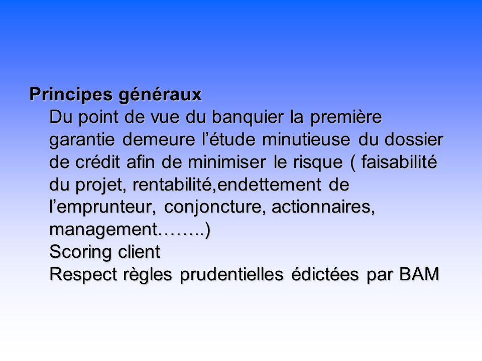 Principes généraux Du point de vue du banquier la première garantie demeure létude minutieuse du dossier de crédit afin de minimiser le risque ( faisa