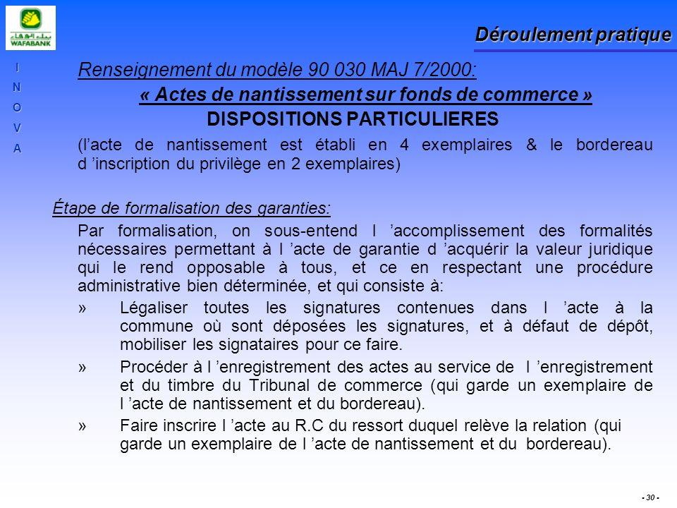 INOVA - 30 - Déroulement pratique Renseignement du modèle 90 030 MAJ 7/2000: « Actes de nantissement sur fonds de commerce » DISPOSITIONS PARTICULIERE