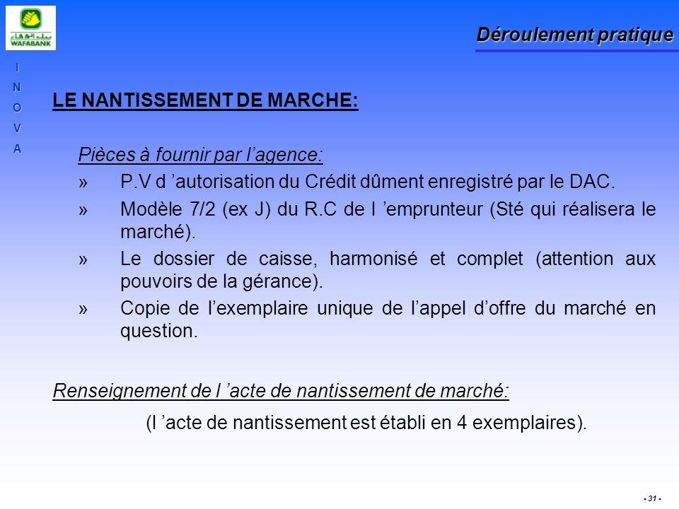INOVA - 31 - Déroulement pratique LE NANTISSEMENT DE MARCHE: Pièces à fournir par lagence: »P.V d autorisation du Crédit dûment enregistré par le DAC.