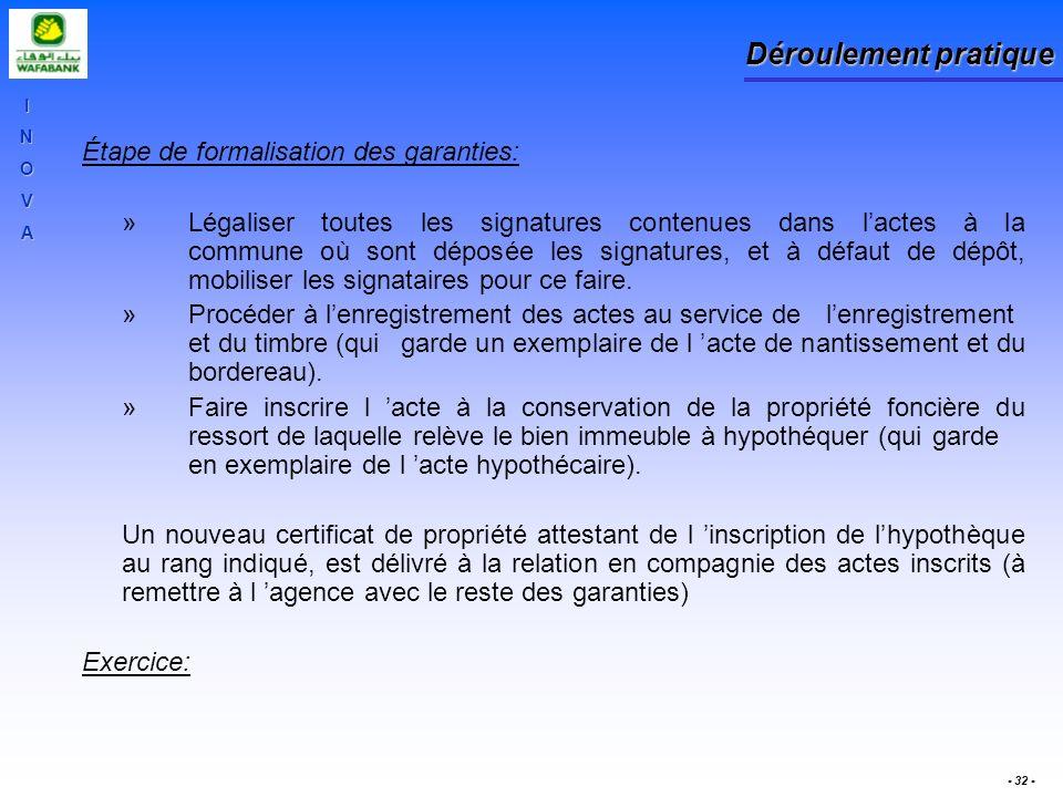 INOVA - 32 - Déroulement pratique Étape de formalisation des garanties: »Légaliser toutes les signatures contenues dans lactes à la commune où sont dé