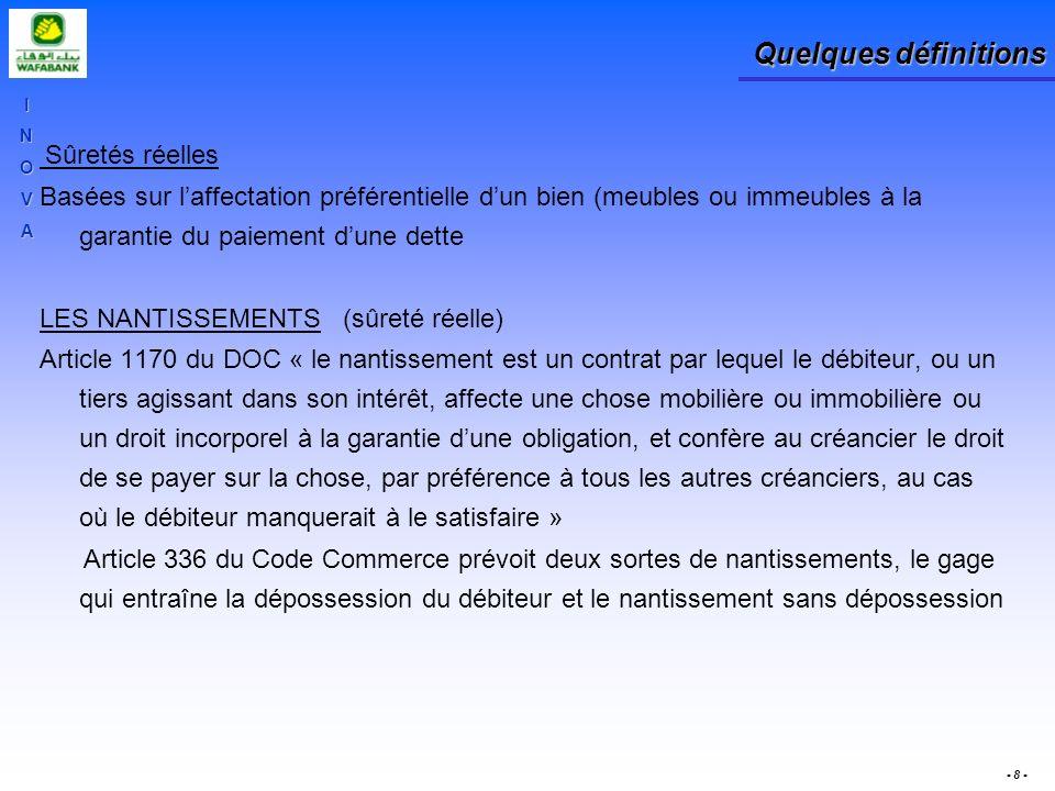 INOVA - 8 - Quelques définitions Sûretés réelles Basées sur laffectation préférentielle dun bien (meubles ou immeubles à la garantie du paiement dune