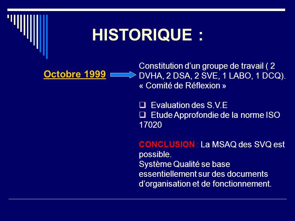 HISTORIQUE : Octobre 1999 Constitution dun groupe de travail ( 2 DVHA, 2 DSA, 2 SVE, 1 LABO, 1 DCQ). « Comité de Réflexion » Evaluation des S.V.E Etud