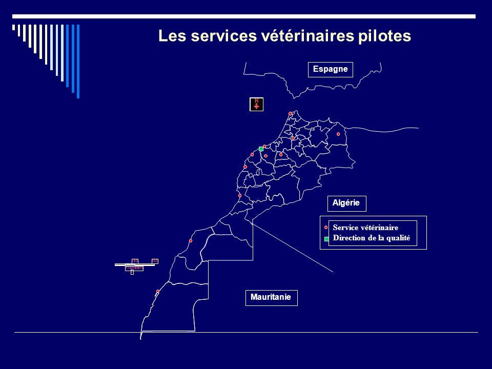 150 0 Kilometers 300 Mauritanie Algérie Espagne Service vétérinaire Direction de la qualité Les services vétérinaires pilotes