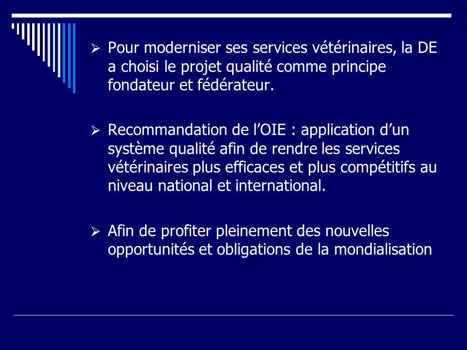 Pour moderniser ses services vétérinaires, la DE a choisi le projet qualité comme principe fondateur et fédérateur. Recommandation de lOIE : applicati