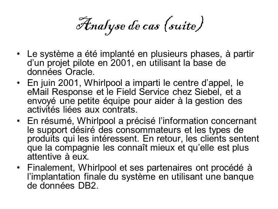 Analyse de cas (suite) Le système a été implanté en plusieurs phases, à partir dun projet pilote en 2001, en utilisant la base de données Oracle. En j