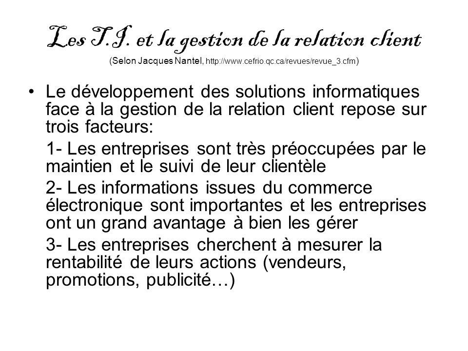Les T.I. et la gestion de la relation client (Selon Jacques Nantel, http://www.cefrio.qc.ca/revues/revue_3.cfm ) Le développement des solutions inform