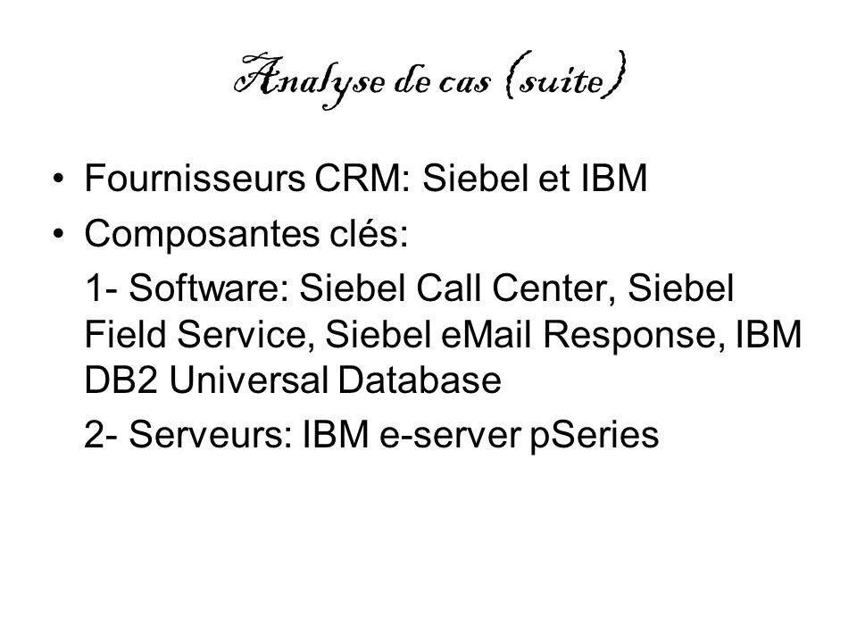 Analyse de cas (suite) Fournisseurs CRM: Siebel et IBM Composantes clés: 1- Software: Siebel Call Center, Siebel Field Service, Siebel eMail Response,