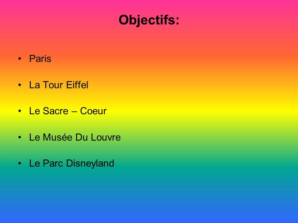 Objectifs: Paris La Tour Eiffel Le Sacre – Coeur Le Musée Du Louvre Le Parc Disneyland