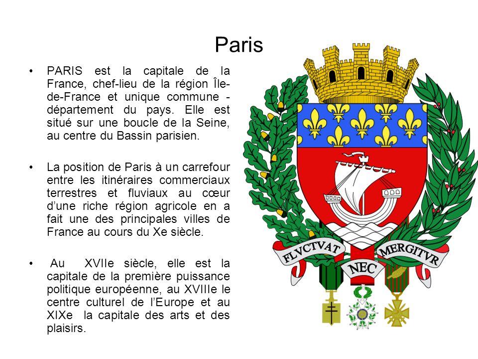 Paris PARIS est la capitale de la France, chef-lieu de la région Île- de-France et unique commune - département du pays. Elle est situé sur une boucle