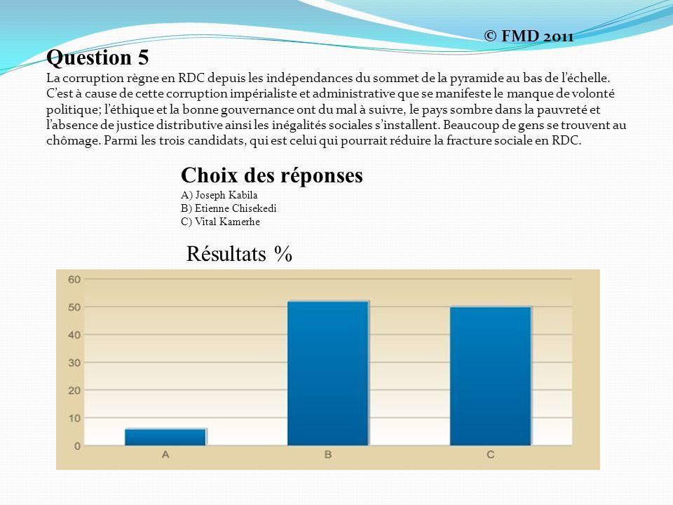 Question 5 La corruption règne en RDC depuis les indépendances du sommet de la pyramide au bas de léchelle.