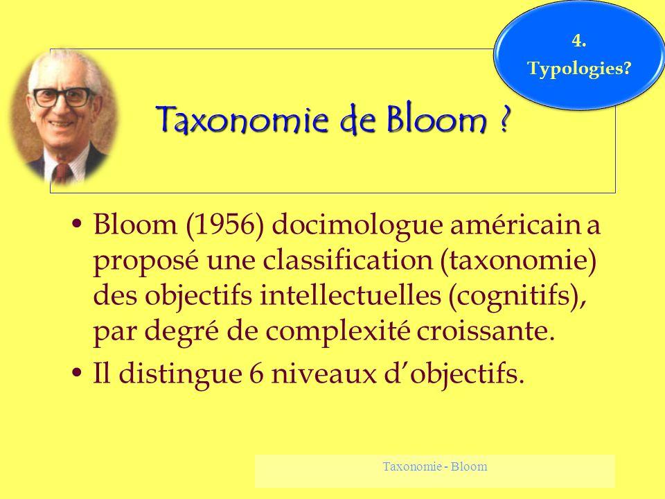 Taxonomie - Bloom Taxonomie de Bloom ? Bloom (1956) docimologue américain a proposé une classification (taxonomie) des objectifs intellectuelles (cogn