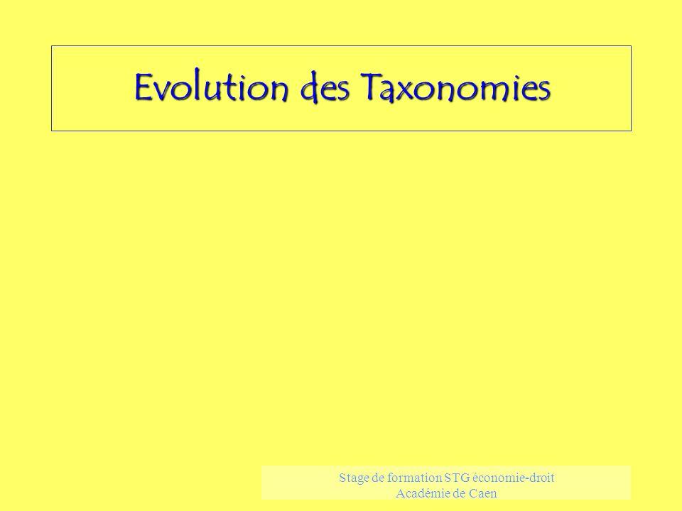 Evolution des Taxonomies Stage de formation STG économie-droit Académie de Caen
