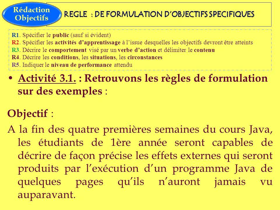 REGLE : DE FORMULATION DOBJECTIFS SPECIFIQUES Activité 3.1. : Retrouvons les règles de formulation sur des exemples : Objectif : A la fin des quatre p