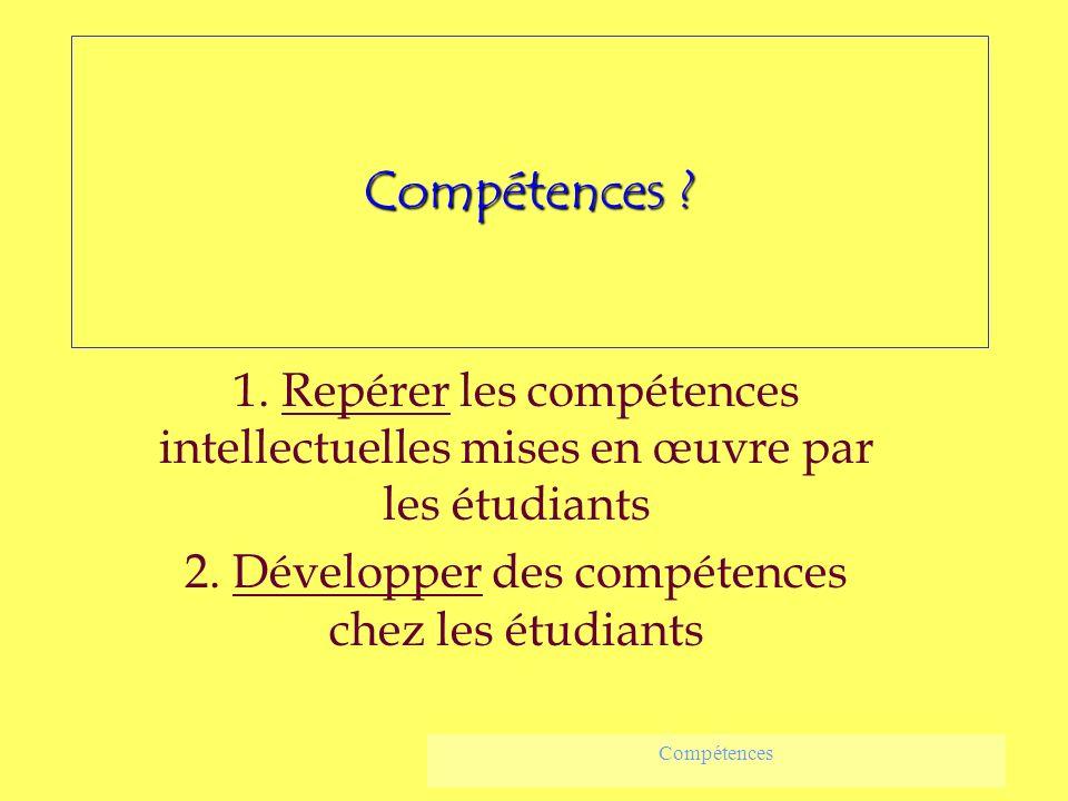 Compétences ? 1. Repérer les compétences intellectuelles mises en œuvre par les étudiants 2. Développer des compétences chez les étudiants Compétences