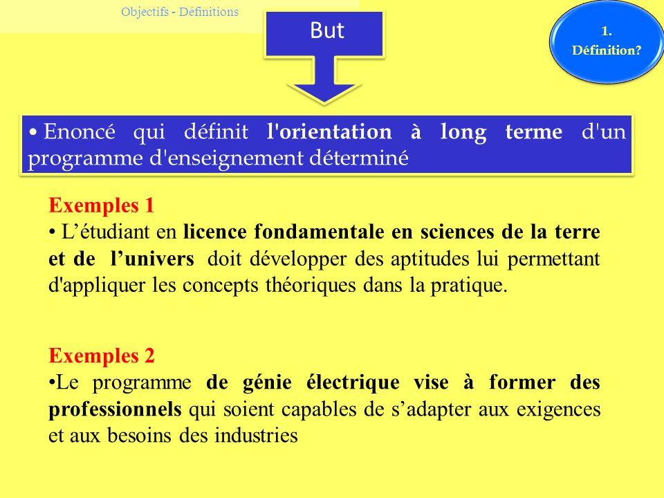 Objectifs - Définitions But 1. Définition? Enoncé qui définit l'orientation à long terme d'un programme d'enseignement déterminé Exemples 1 Létudiant