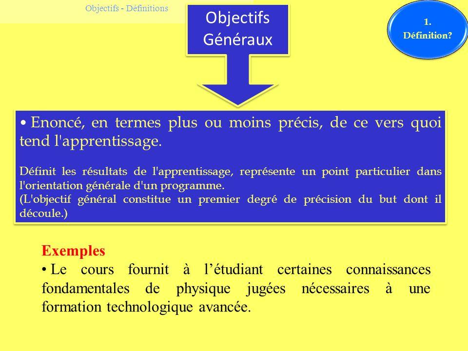 Objectifs - Définitions Objectifs Généraux 1. Définition? Enoncé, en termes plus ou moins précis, de ce vers quoi tend l'apprentissage. Définit les ré