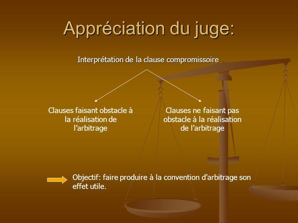 Appréciation du juge: Interprétation de la clause compromissoire Clauses faisant obstacle à la réalisation de larbitrage Clauses ne faisant pas obstac