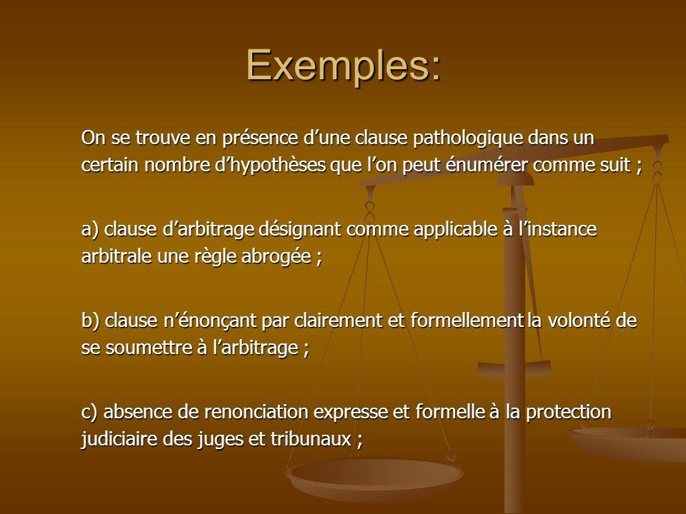 Exemples: On se trouve en présence dune clause pathologique dans un certain nombre dhypothèses que lon peut énumérer comme suit ; a) clause darbitrage