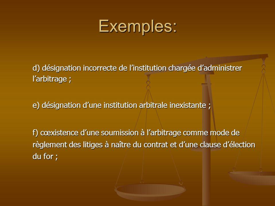 Exemples: d) désignation incorrecte de linstitution chargée dadministrer larbitrage ; e) désignation dune institution arbitrale inexistante ; f) cœxis