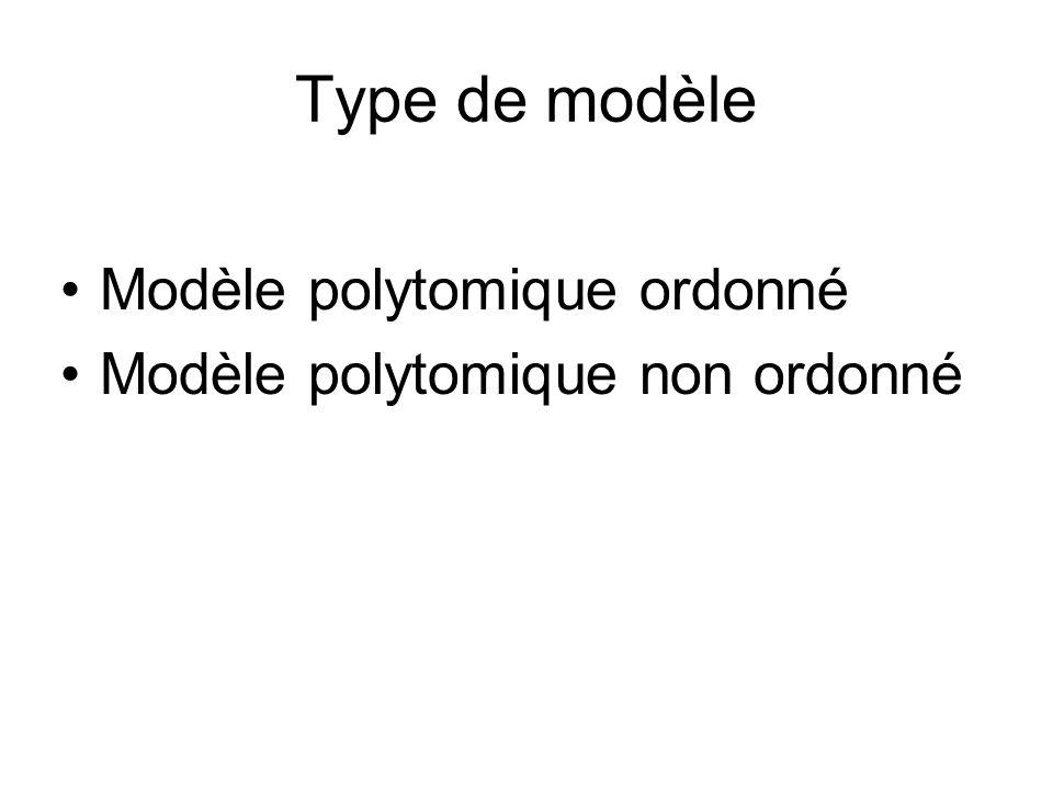 Type de modèle Modèle polytomique ordonné Modèle polytomique non ordonné