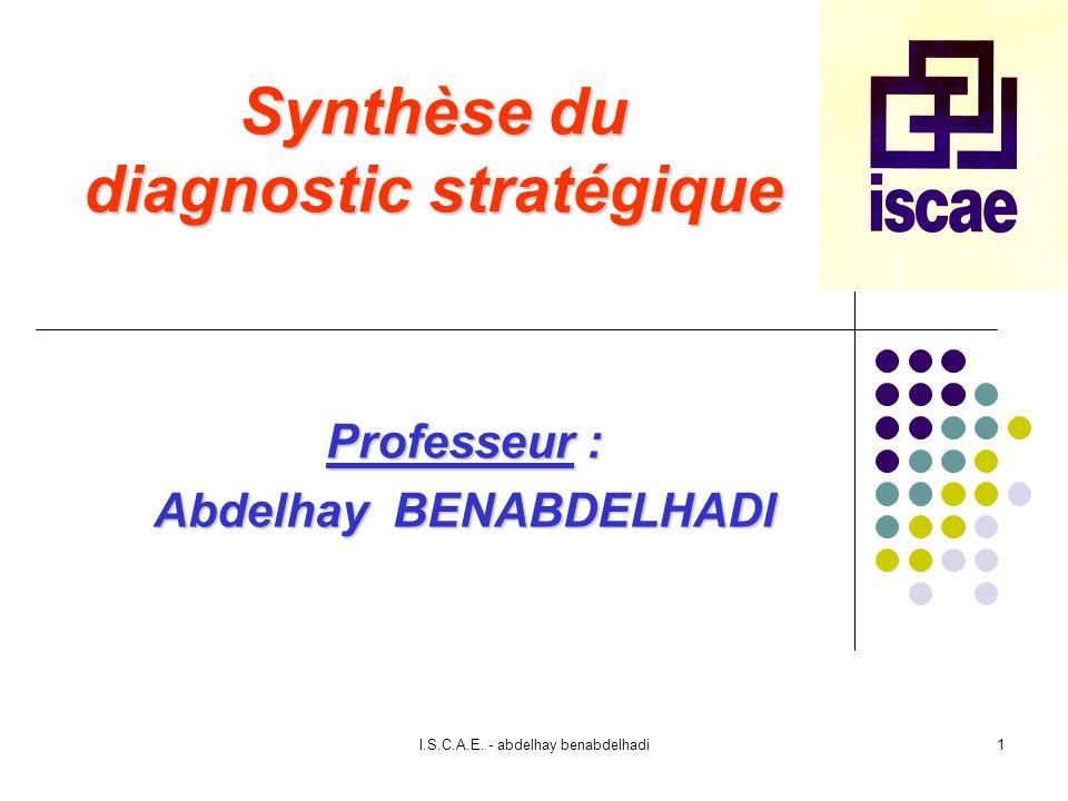 I.S.C.A.E. - abdelhay benabdelhadi1 Synthèse du diagnostic stratégique Professeur : Abdelhay BENABDELHADI