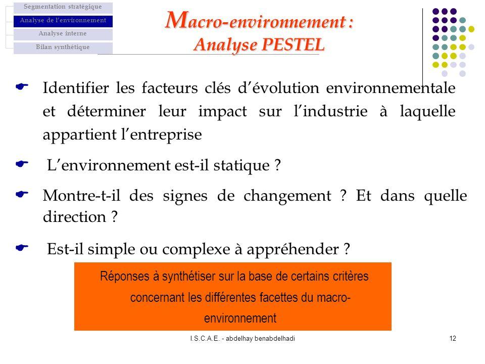 I.S.C.A.E. - abdelhay benabdelhadi12 Identifier les facteurs clés dévolution environnementale et déterminer leur impact sur lindustrie à laquelle appa