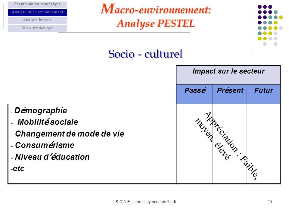 I.S.C.A.E. - abdelhay benabdelhadi15 Impact sur le secteur Pass é Pr é sent Futur - D é mographie - Mobilit é sociale - Changement de mode de vie - Co