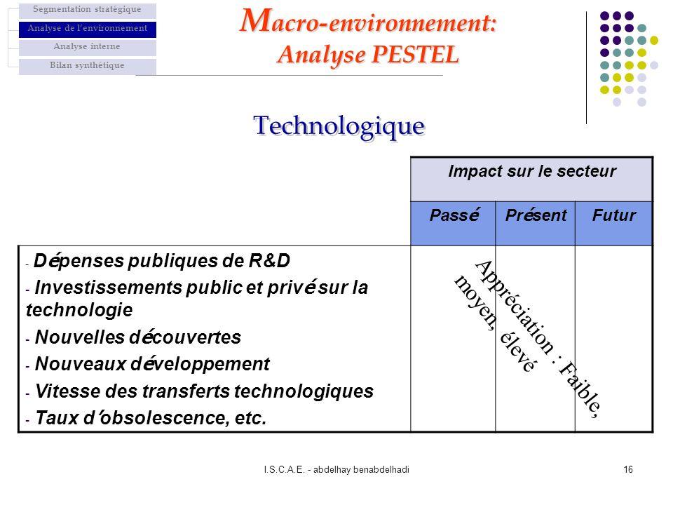 I.S.C.A.E. - abdelhay benabdelhadi16 Impact sur le secteur Pass é Pr é sent Futur - D é penses publiques de R&D - Investissements public et priv é sur