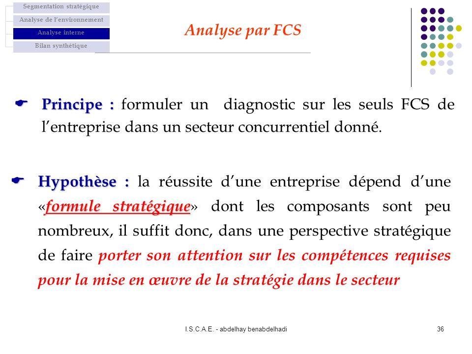 I.S.C.A.E. - abdelhay benabdelhadi36 Principe : Principe : formuler un diagnostic sur les seuls FCS de lentreprise dans un secteur concurrentiel donné