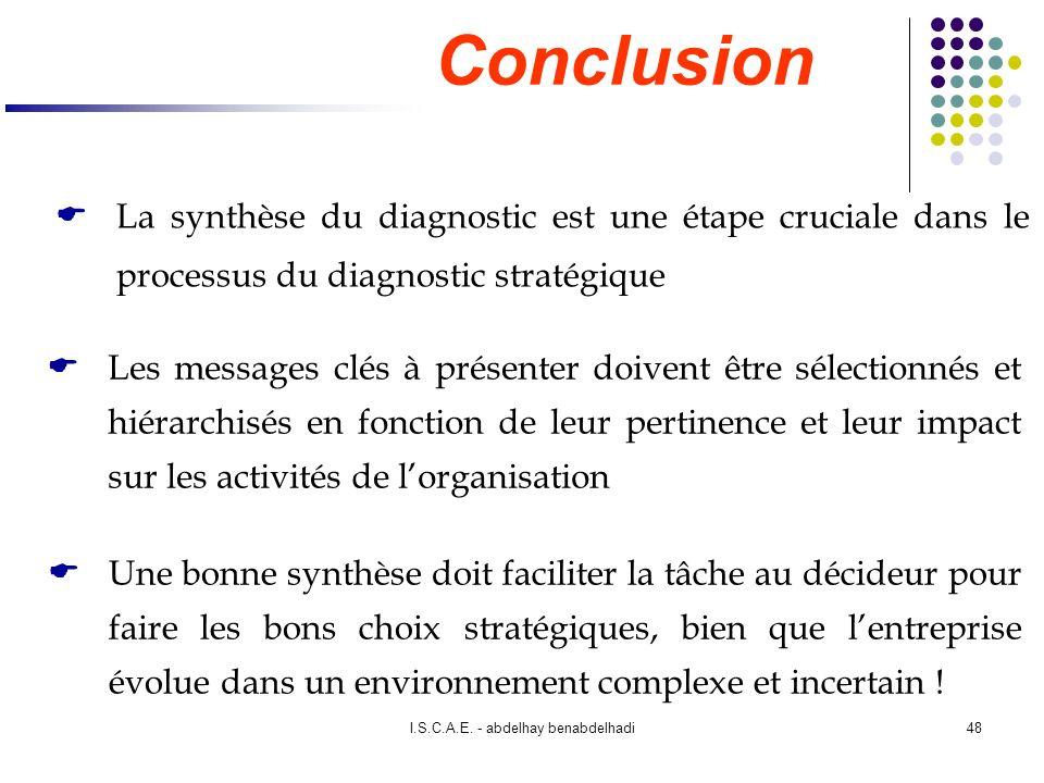 I.S.C.A.E. - abdelhay benabdelhadi48 La synthèse du diagnostic est une étape cruciale dans le processus du diagnostic stratégique Les messages clés à